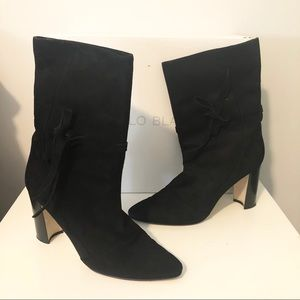 Manila Blahnik Belem Black Suede Boot